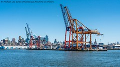 Red Hook Container Terminal (20180422-DSC05326-Edit) (Michael.Lee.Pics.NYC) Tags: newyork brooklyn redhook containerterminal portofnewyorknewjersey atlanticbasin gantry container freight architecture cityscape skyline sony a7rm2 fe24105mmf4g watertaxi moon