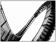 Tiger and Turtle - Magic Mountain (unukorno) Tags: duisburg nordrheinwestfalen deutschland angerpark tigerandturtle magicmountain ruhrgebiet ruhrpott stairs staircase looping sw bw monochrome blackwhite silhouette