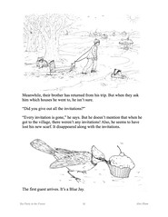 TeaPartyP11 (Alex Hiam) Tags: childrens book pages free landscape forest children sled snow birds animals chikadee badger deer baking cake chipmunk house cottage barn sleigh nature tea party teacup teapot cookies illustration drawing