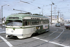 US CA San Francisco MUNI PCC 1111 8-3-1977 Duboce-Market - William Madden Photo (David Pirmann) Tags: california sanfrancisco muni tram trolley streetcar transit railroad transportation pcc williammaddenphoto