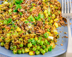 Thursday dinner. Meat-free cheesy vegetables and quinoa. (garydlum) Tags: blackpepper corn parsley thyme peas iodisedsalt coriander chilliflakes friedshallots chillies springonions quinoa rosemary worcestershiresauce cheese butter belconnen australiancapitalterritory australia au