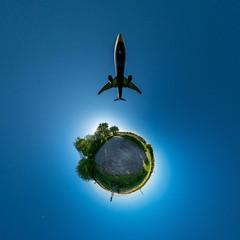 Leaving this world... (HamburgerJung) Tags: germany deutschland hamburg fuhlsbüttel airport airplane flugzeug planet panasonicgm5 hugin walimex littleplanet stereographic