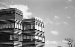 School of Education (OhDark30) Tags: carl zeiss jena czj werra 3 tessar 2850 35mm film monochrome bw blackandwhite bwfp fomapan 200 rodinal schoolofeducation building university birmingham 60s architecture modernist spring sunshine
