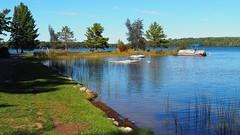 Dillmans Art Retreat (PDX Bailey) Tags: boat recreation lake water green blue grass shadow shore wisconsin dillman art retreat northern
