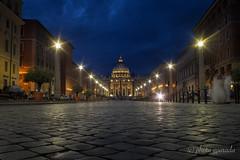 Rome by Night (gporada) Tags: italy rome stpetersbasilica petersdom streetlevelshot canonfd2824mm sonya7ii ilce7m2 bluehour blauestunde