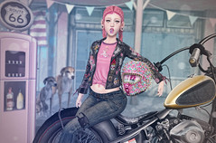 Biker Girl (Gabriella Marshdevil ~ Trying to catch up!) Tags: sl secondlife cute kawaii doll wasabipills enfersombre bento blogger catwa search uber astralia