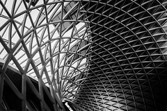 Half And Half (Sean Batten) Tags: london england unitedkingdom gb kingscross architecture lines curves blackandwhite bw nikon d800 35mm city urban window roof pattern