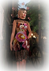 Marcia, Marcia, Marcia (Slightly FASHIONABLE) Tags: sl secondlife virtualfashion dress flower marciaportess vinyl cage swankevent