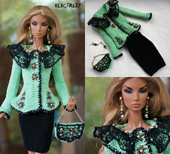 Green colors, outfit for the doll FR2 (electraere) Tags: fr2 fashionroyalty fashionroyaltypoppyparker outfit dolls12 poppyparker doll knitting knitingdoll