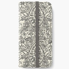 aziza mono redbubble phone wallet (Scrummy Things) Tags: sharonturner aziza morocco marrakech marrakesh illustration paintedwood flowers floral pattern surfacedesign boho bohemian summer festival redbubble mono monochrome iphone wallet