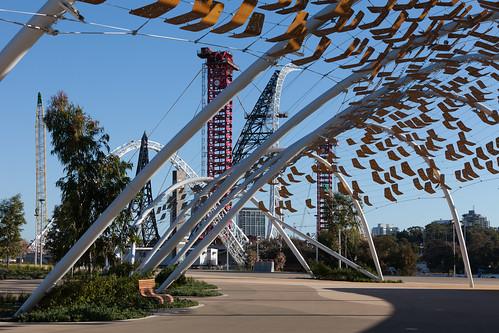 Footbridge construction at Optus Stadium