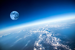 Planet Earth (cgoering) Tags: moon sun horizon stratosphere cloud backgrounds space view over weather planet sky nature environment astronomy layer meteorology heaven climate land ozone earth dark blue cloudscape midair horizontal curve air russianfederation pdc pacific disaster center