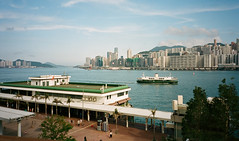 """""""it was a good day"""" (hugo poon - one day in my life) Tags: fujifilmcardiaminitiara film kodakportra400 hongkong kowloon hunghom hunghomferrypier starferry northpoint victoriaharbour sunny colours beautifulday reminiscing sky skyline skyscrapers city"""