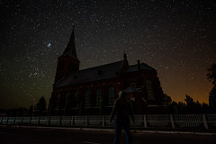 The Unbeliever (free3yourmind) Tags: unbeliever beliver church man looking up sky stars starry night selfie universe religion religious catholic orthodox belarus nightsky