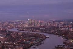 London Nightscape XXXIX (Douguerreotype) Tags: england london dark uk purple river british water cityscape sunset buildings lights architecture city thames britain night gb urban canarywharf