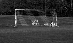 All the action was at the other end of the field (PaulEBennett) Tags: football goal goalkeeper horwichrmi junior boy teenager pentaxk3ii blackandwhite mono