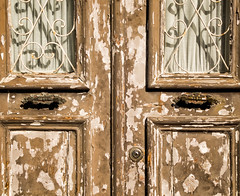 'Knock, Knock' (Canadapt) Tags: door window lock keyhole cross curtain decay peeling loures portugal canadapt handle