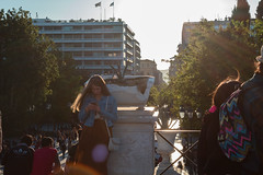 waiting the one (giorgosAnk) Tags: people syntagma square athens greece walking walk sun backlit sunflare pedestrian sky waiting