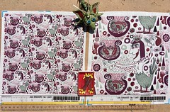 """""""The Bird Lady Cometh"""", large and small scale fabric test swatches. My original design. Available as fabric, wallpaper and gift wrap. (sassyone2013) Tags: fantasyart fantasy illustration drawing digitalart nude nudes ankh egyptianankh green grape red white bird birds women woman noveltyfabric noveltyfabrics textile textiles fabric fabrics quilting sewing crafting quirky geometricdesign fabricdesign creature scifi quirkyart paisley floral rain clouds dots flowers eyes surreal wallpaper wrapping giftwrap wrappingpaper unusualfabrics amygale cartoon animated animation boobs feathers digitaldrawing uniquefabric uniquefabrics"""