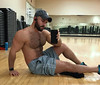 1375 (rrttrrtt555) Tags: hair hairy beard muscles gym workout chest arms legs shoulders shorts shoes sneakers weights hat cap selfie phone headphones shirt masculine leaning watch wristband fitbit