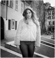 The One and Only (Steve Lundqvist) Tags: monocromo ritratto fashion moda mood attractive beauty crossing street road fujifilm x100s streetphotography sidewalk marciapiede fur woman posh milan milano italy italia people x100 portrait girl look monochrome snob attitude urban city italians