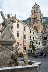 Statue of St. Andrew and Belltower to the Cathedral, Amalfi (MikePScott) Tags: abbey amalfi arch architecturalfeatures baptistry basilica belltower buildings builtenvironment camapanile camera campania carillon cathedral church clouds duomo ecclesiastical featureslandmarks italia italy monastery monument nikon28300mmf3556 nikond800 salerno sky statue steps tower towersetc window
