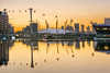 Dusk over the O2 Arena (adrians_art) Tags: greenwich canarywharf isleofdogs o2arena dome royalvictoriadocks water reflections sunset dusk evening structures city uk england urban travel emiratesairlinecablecar royaldocks emirates air line cable car
