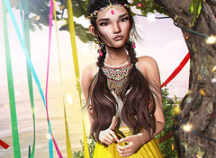 In every breathe there´s life (Vega_Arida) Tags: baiastice doux létre milkmotion portrait closeup girl chica boho bohemian disney colours yellow hairs wind windy nature tree hippie fashion jewlery