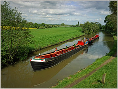 Raymond in tow (Jason 87030) Tags: photo shoot butty workboat narrowboat craft vessel nutfield raymond blueline local weekend sunny light weather geeks water countryside northants northamptonshire canal cut guc grandunioncanal fields view scene vista shot