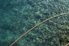 Rope over clear water (josemanuelerre) Tags: rope float detail composition minimal transparent rock background lake water sea stilllife blue bottom stone wave wavy clear summer day pattern sail harbor naval maritime natural impromptu unplanned improvised nature coast simple beauty scene whimsical