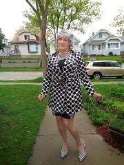 Dare To Be Different (Laurette Victoria) Tags: sidewalk raincoat pumps bw silver woman laurette