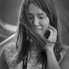 The Wind Cries... (Straatmoment) (dagomir.oniwenko1) Tags: london wind street style sigma summer canon candid canoneos60d blackandwhite bw mono hair female face england portrait person portret people portraits ritratto retrato squre
