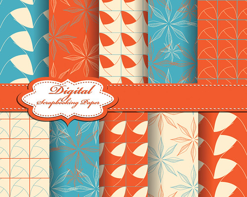 "set of vector abstract flower pattern paper for scrapbook • <a style=""font-size:0.8em;"" href=""http://www.flickr.com/photos/151084956@N05/41645673742/"" target=""_blank"">View on Flickr</a>"