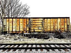 """""""Interregnum"""" (Halvorsong) Tags: industry art composition cloudyday train trains trainyard traintracks explore discover photography photosafari texture textured textures rust rusty rusted oxidization oxidized weathered decay abandoned corrosion steel metal alone old oldschool america americana roadside hiddengems explored"""