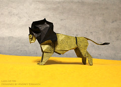 lion op.56 (Andrey Ermakov) Tags: origami lion andreyermakov ermakovorigami creasepattern ioio ioio2018 paperfold paper tissue