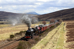 Powering towards Drumochter summit (Andrew Edkins) Tags: 1264 45699 galatea lms stanier railwayphotography travel trip drumochter dalnacardoch scotland thegreatbritainxi uksteam railtour excursion doubleheader light geotagged canon april 2018 spring