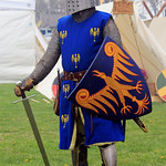 Thirteenth century knight in a replica of the Bolzano helm thumbnail
