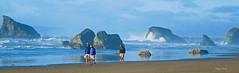 on the beach (albyn.davis) Tags: bandon oregon usa beach ocean water people walking splash rocks weather