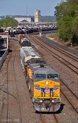 "Northbound Manifest in Kansas City, MO (""Righteous"" Grant G.) Tags: up union pacific railroad railway locomotive train trains west westbound north northbound ge power kansas city missouri"