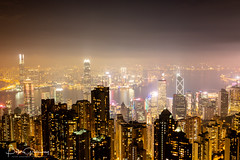 Iconic Night Time View From 'The Peak' Overlooking Hong Kong Island (Peter Greenway) Tags: hongkong asia hk urban flickr thepeak rooftops nightphotography china nightlights skyline skyscraper nighttime hongkongisland highrise iconic