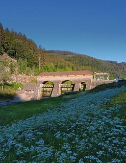 Das alte Wasserkraftwerk in der Murg bei Raumünzach.