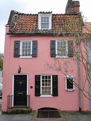 The Pink House (c.1712), 17 Chalmers Street, Charleston, SC (Spencer Means) Tags: pinkhouse chalmers street door doorway black roof charleston sc southcarolina shutters house bermuda stone johnbreton frenchquarter