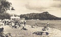 Waikiki Beach Diamond Head 1940s (Kamaaina56) Tags: 1940s waikiki hawaii beach realphoto deans