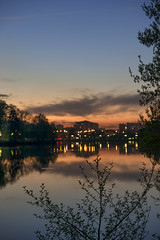 Rusty-orange sunset (Varvara_R) Tags: sunset sky clouds evening lake reflections bokeh selectivefocuse lights silhouettes tree trees moscow russia park nature publicpark nikon coth5