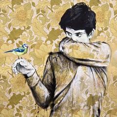 Mésange (Gerard Hermand) Tags: 1805123886 gerardhermand france paris canon eos5dmarkii formatcarré garçon boy oiseau bird rue street art streetart papier paper fleur flower peinture paint collage