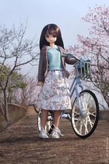 Spring stories (Hazy June) Tags: azone azoneinternational azonedoll yuzuha pureneemo fashiondolls spring garden bicycle bike