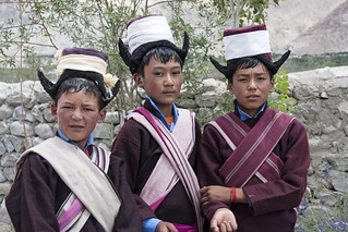 Ladakhi schoolboys in traditional dress
