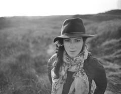 Walk with me (10 Rolls Of Film) Tags: bronica 5028 zenzanonpe etrc woman portrait outdoors girl hat backlight backlit walk film ilford ilfordfp4125 medium format mf fp4 ilfosol3 ilfosol scan epson v500
