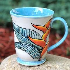 New tropical mug 🌴 🍃🍃🍃 #pottery #wheelthrowing #wheelthrown #handmademug #pottersofinstagram #potterylove #ceramics #ceramica #fidgetspinner #porcelain #keramika #potterie #keramik #ceramicstudio #ceramicart #mugshotmonday # (AnasClayHouse) Tags: anasclayhouse etsymuddteam pottery handmade hand thrown ceramics cerâmica