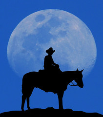 Just trying something different (Mike Woodfin) Tags: mikewoodfin mikewoodfinphotography photo picture photography photograph photos photoshop pretty moon cowboy nikon canon contrast color crusty country cool cracker fuji florida fl lunar moonscape horse rider blue silouette vector crater lightblue awesome striking moody